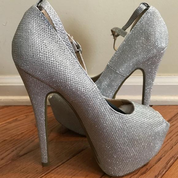 Womens Silver Platform Heels Prom Shoes